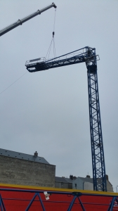 Tower Crane being moved on site in Antrim